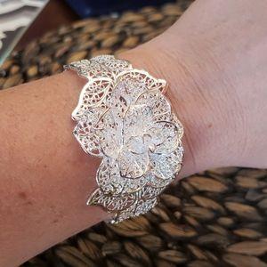 Jewelry - Flower sterling silver cuff bracelet